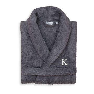 Linum Home Textiles Turkish Cotton Personalized Unisex Terry Cloth Bathrobe, Men's, Size: Large/XL, Grey