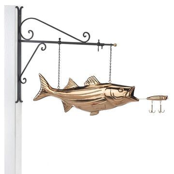 Good Directions Copper Freestanding Bass with Lure Weathervane