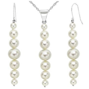 DaVonna 14K White Gold 5-8.5mm White Graduated Freshwater Cultured Pearl Pendant & Earrings Jewelry Set 18