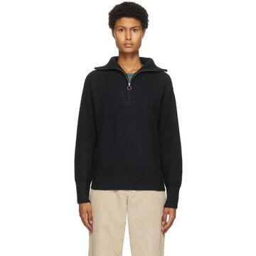 Isabel Marant Etoile Black Wool Fancy Half-Zip Sweater