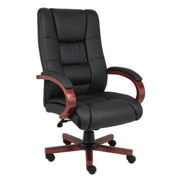 Boss B8991-C High Back Executive Wood Chairs, Black-Cherry