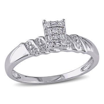 Miadora Sterling Silver 1/10ct TDW Diamond Engagement Ring