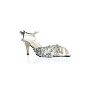 Caparros Womens Heirloom Silver Ankle Strap Heels Size 10