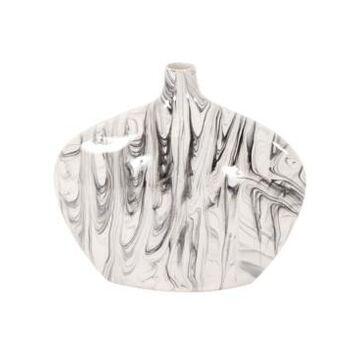Howard Elliott Porcelain Oblong White and Black Swirl Vase, Large