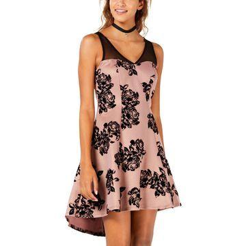 Trixxi Womens Juniors Floral Hi-Low Semi-Formal Dress