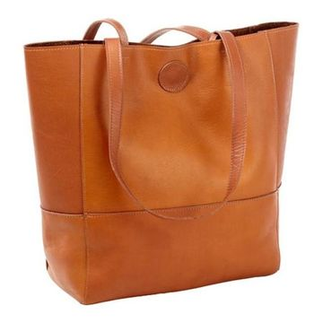 CLAVA Women's Vertical Leather Kate Tote Tan - US Women's One Size (Size None)