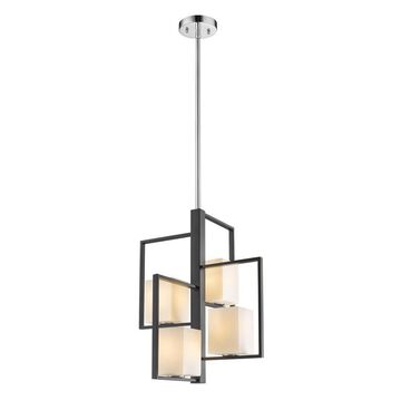 EGLO Regis Falls Black/Chrome Transitional Opal Glass Square Pendant Light