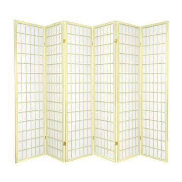 Oriental Furniture 6-Panel Ivory Paper Folding Shoji Style Room Divider in Off-White | WPSP-6P-IVORY