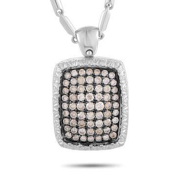 Roberto Coin White Gold Brown Diamond Pave Rectangle Cushion Pendant Necklace