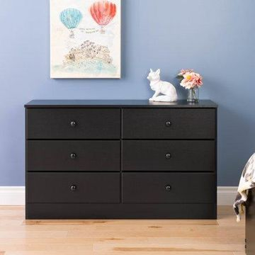 Prepac Astrid 6-Drawer Dresser, Deep Black