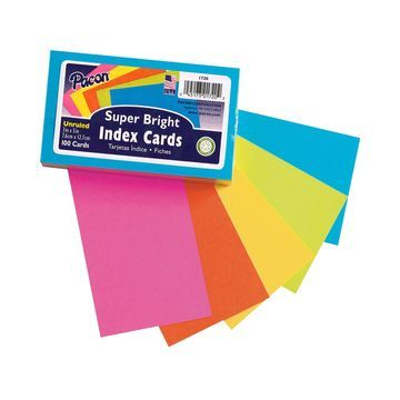 Pacon 600 pk 3''x5'' Super Bright Unruled Index Cards-Assorted