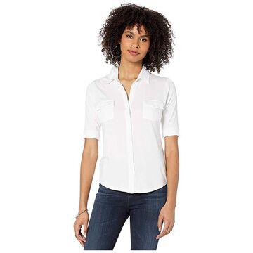 Majestic Filatures Viscose/Elastane Button Front Shirt (Blanc) Women's Clothing