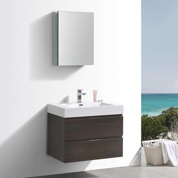 Fresca Senza 30-in Gray Oak Single Sink Bathroom Vanity with White Acrylic Top (Faucet Included) | FVN8330GO