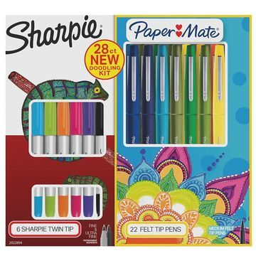 Sharpie Twin Tip Permanent Marker And Paper Mate Flair Felt Tip Pen Doodling Kit, Multicolor