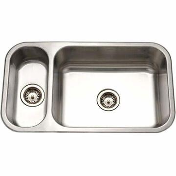"Houzer EHD-3118 Elite 31-1/2"" Double Basin Undermount 20-Gauge Stainless Steel Kitchen Sink with 20/80 Split and Sound Dampening Technology - Basket"