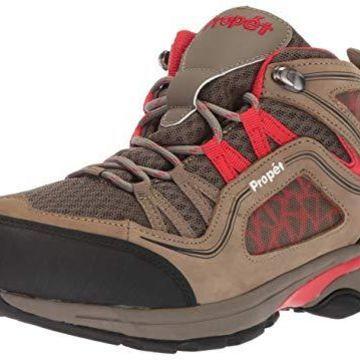 Propet Women's Peak Hiking Boot, Gunsmoke/red, 6H Medium Medium US