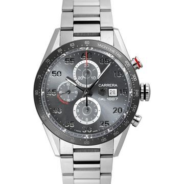Tag Heuer Men's CAR2A11.BA0799 'Carrera' Chronograph Stainless Steel Watch (9 Inch - Stainless Steel - 100 Meters - Sapphire - Three Hand - Grey -