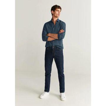 MANGO MAN - Slim fit checked cotton shirt green - S - Men