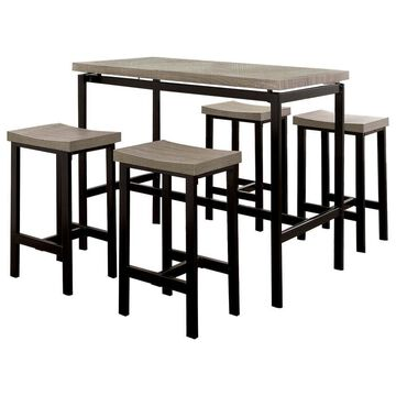Benzara Brown Counter Table, Wood with Brown Metal Base