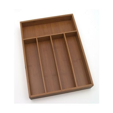 Lipper International 8876 Bamboo Wood Flatware Organizer with 5 Compartments