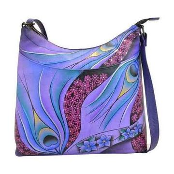 ANNA by Anuschka Women's Hand Painted Leather Large Organizer Crossbody 825
