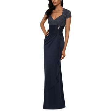 Betsy & Adam Petite Sequined Ruffled Gown