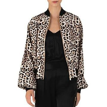 Atm Anthony Thomas Melillo Leopard-Printed Silk Bomber Jacket