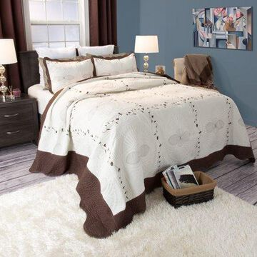 Somerset Home 3pc Athena Embroidered Quilt Bedding Set