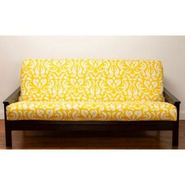 SIScovers Adele Microfiber Queen Futon Slipcover in Yellow/White