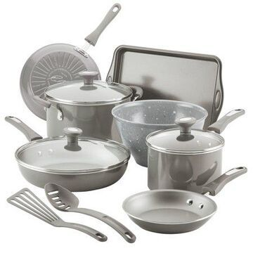 Rachael Ray 12-Piece Get Cooking Nonstick Pots and Pans Set/Cookware Set, Gray