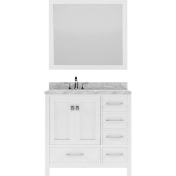 Virtu USA Caroline Avenue 36-in White Undermount Single Sink Bathroom Vanity with Italian Carrara White Marble Top (Mirror and Faucet Included)
