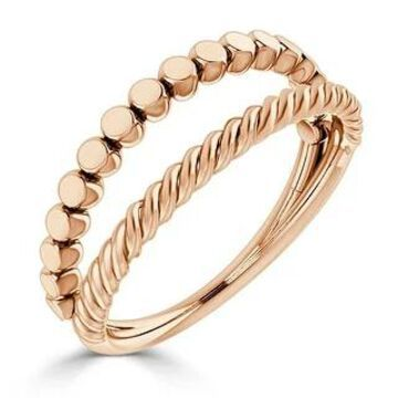 Auriya Twisted Split Rope Style Stackable 10k Gold Ring