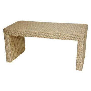 Oriental Furniture Natural Fiber Rush Grass Coffee Table