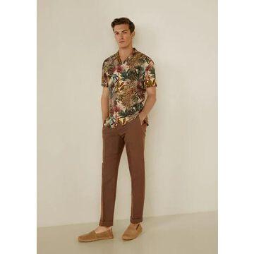 MANGO MAN - Pleated cotton linen trousers brown - 34 - Men