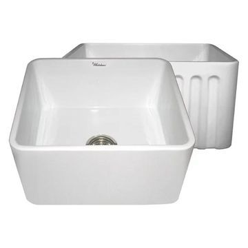 Whitehaus WHFLPLN2018 20' Fluted & Smooth Reversible Fireclay Sink In