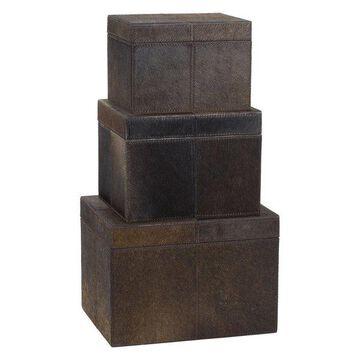 Lazy Susan Nested Chestnut Faux Pony Boxes, 3-Piece Set