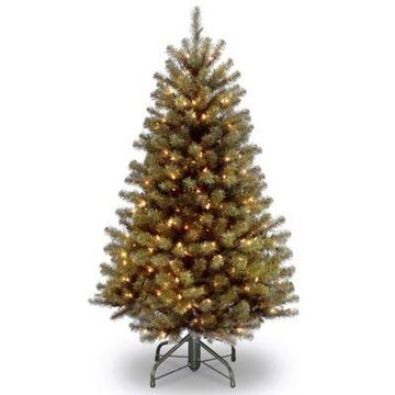 National Tree Company 4-Foot 6-Inch North Valley Spruce Pre-Lit Hinged Christmas Tree w/Clear Lights