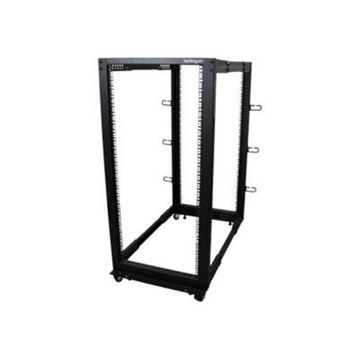 StarTech.com25U Adjustable Depth Open Frame 4 Post Server Rack Cabinet - w/ Casters / Levelers and Cable Management Hooks(4POSTRACK25U)