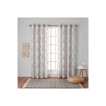 "Exclusive Home Branches Linen Blend Grommet Top Curtain Panel Pair, 54"" x 84"""