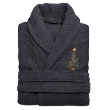 Linum Home Textiles Large/X-Large Embroidered Christmas Tree Herringbone Bathrobe in Grey