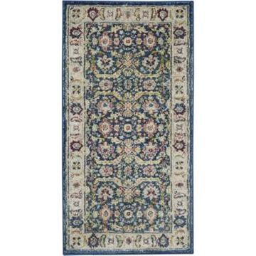 Nourison Ankara Global ANR13 Navy and Multi 2' x 4' Area Rug