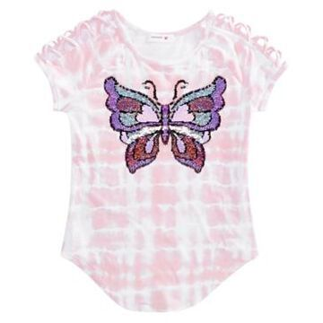 Beautees Big Girls Flip Sequin Tie-Dyed Butterfly T-Shirt