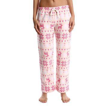Nomad Women's Sleep Bottoms Pink - Pink Fair Isle Fleece Pajama Pants - Women & Plus