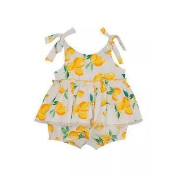 Rare Editions Girls' Baby Girls Lemon Ruffle Woven Romper - -