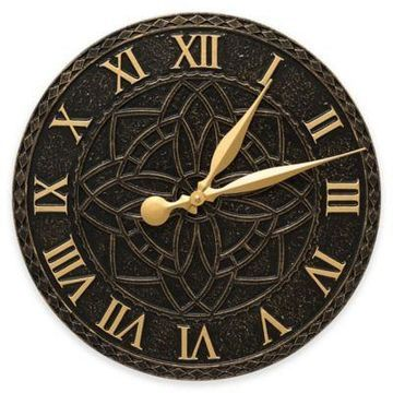 Whitehall Products Artisan Indoor/Outdoor Wall Clock in Black/Gold