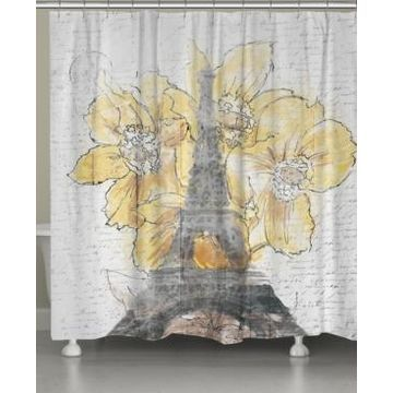 Laural Home Daffodil Blooms Eiffel Tower Shower Curtain Bedding