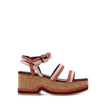 Salvatore Ferragamo Suede Strap Wedge Sandals