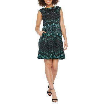 Danny & Nicole Sleeveless Chevron Fit & Flare Dress
