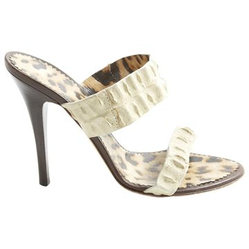 Roberto Cavalli Ecru Leather Heels