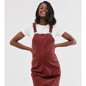 Mamalicious maternity cord pinny mini dress in rust-Red